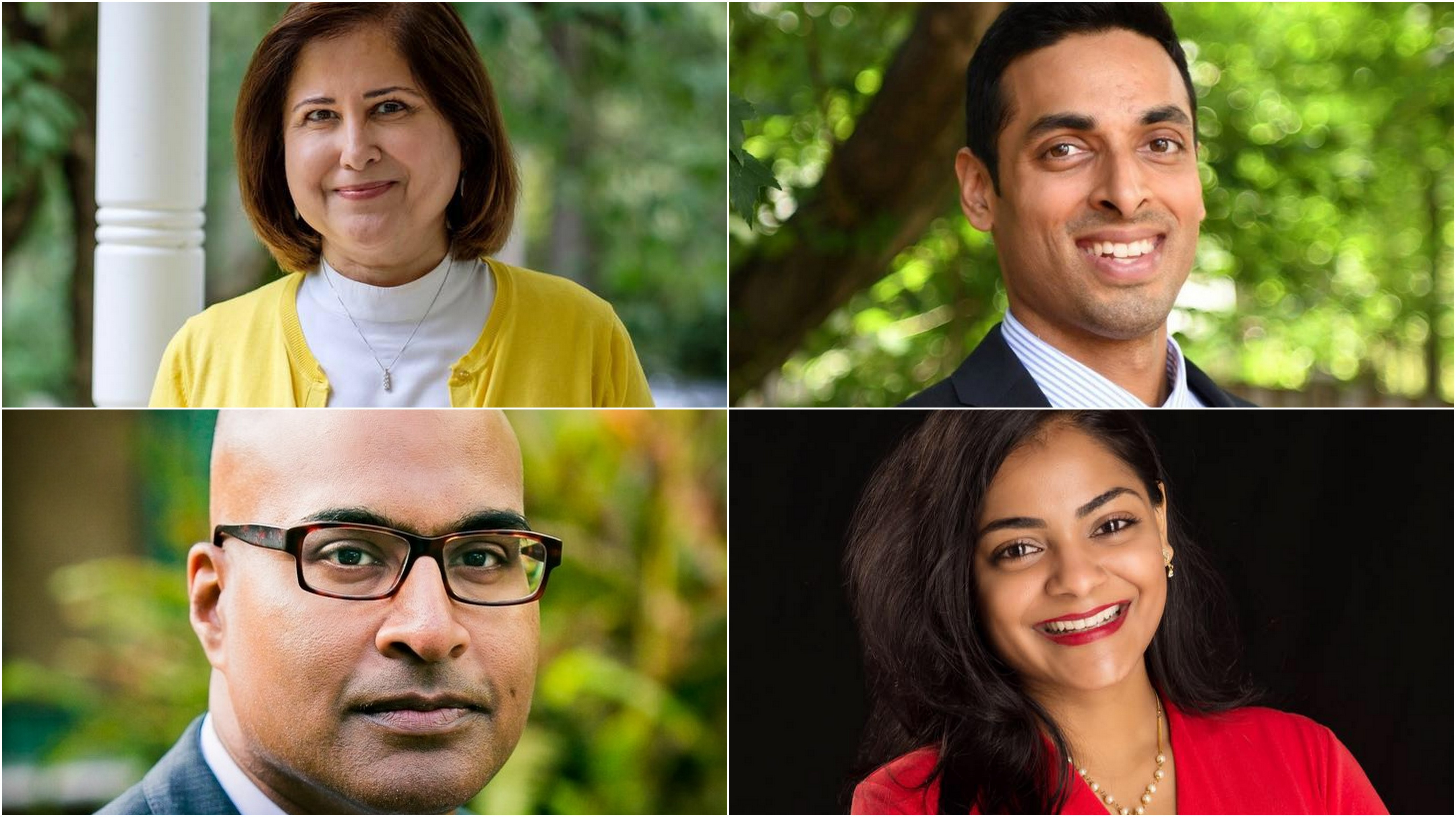 Ghazala Hashmi (top left), Suhas Subramanyam (top right), Mano Raju (bottom left) and Dimple Ajmera (bottom right) have won state and local US elections