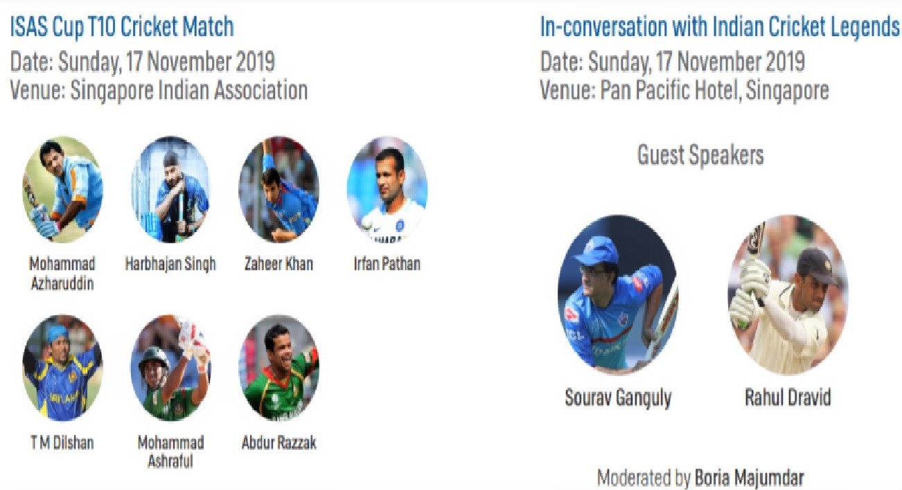 ISAS has lined up an exciting cricket match on Sunday, 17 November with corporate teams and South Asian cricket celebrities from India, followed by the finale, an in-conversation session with Indian cricket legends Sourav Ganguly and Rahul Dravid.