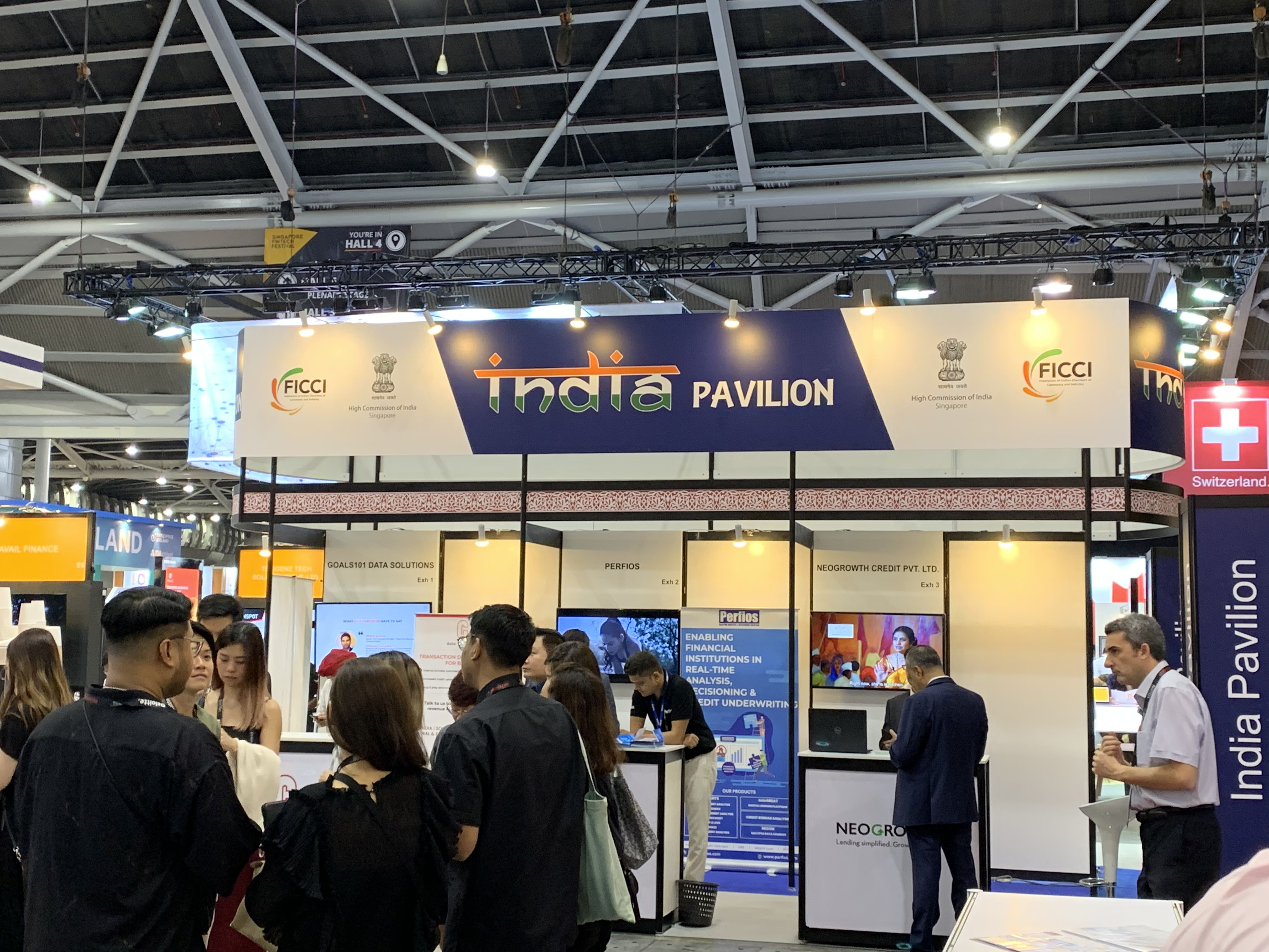 The Indian delegation at the SFF Exhibition's India pavilion is one of the largest from any country, composed of 12 and 15 fintech companies sponsored by FICCI and Mumbai Fintech Hub respectively. Photo: Connected to India