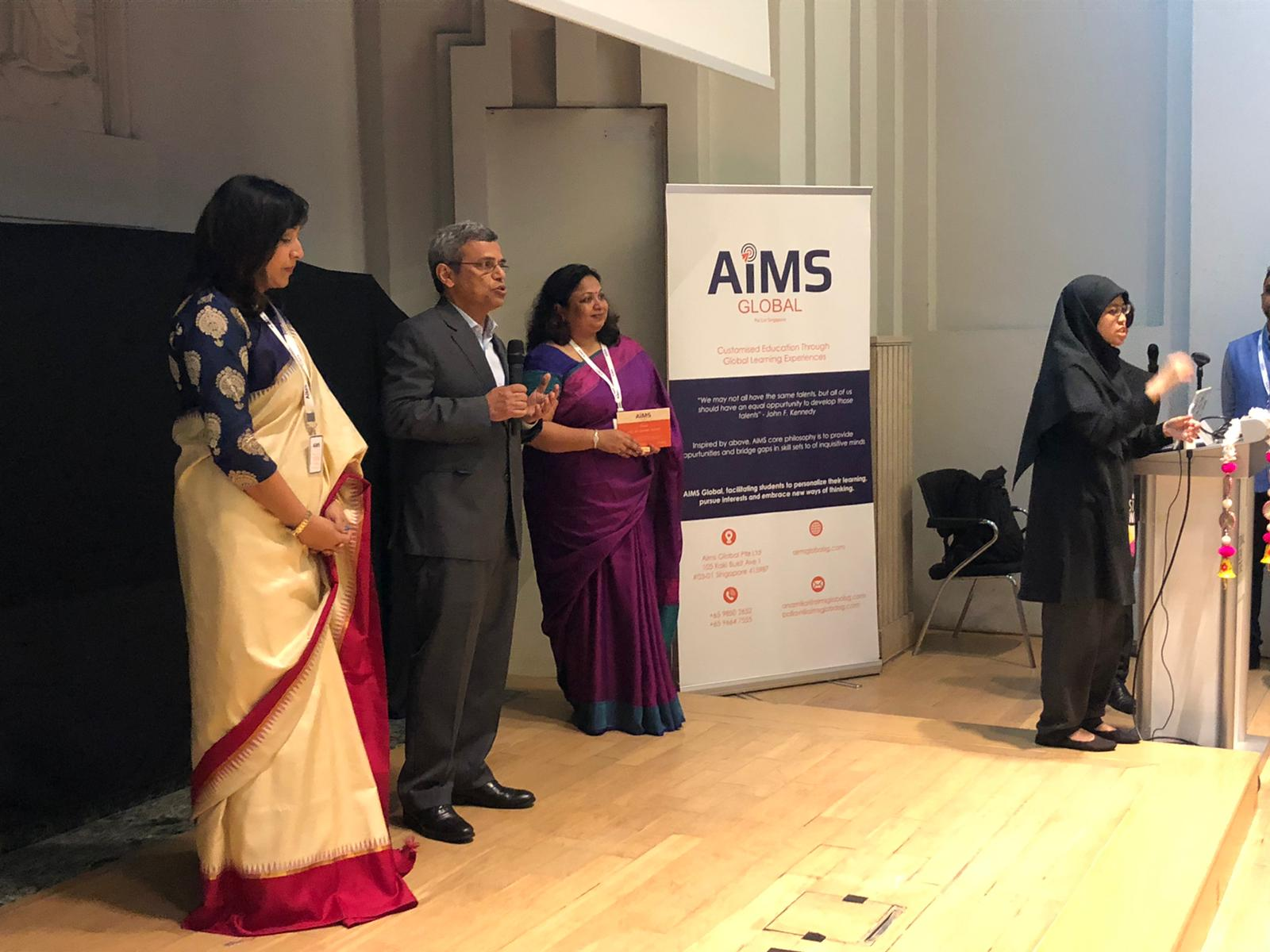 Guest of Honour India's High Commissioner to Singapore Jawed Ashraff flanked by founders of AiMS, Dr. Pallavi Agarwal and Dr. Anamika Gupta Photo Courtesy: AiMS Global