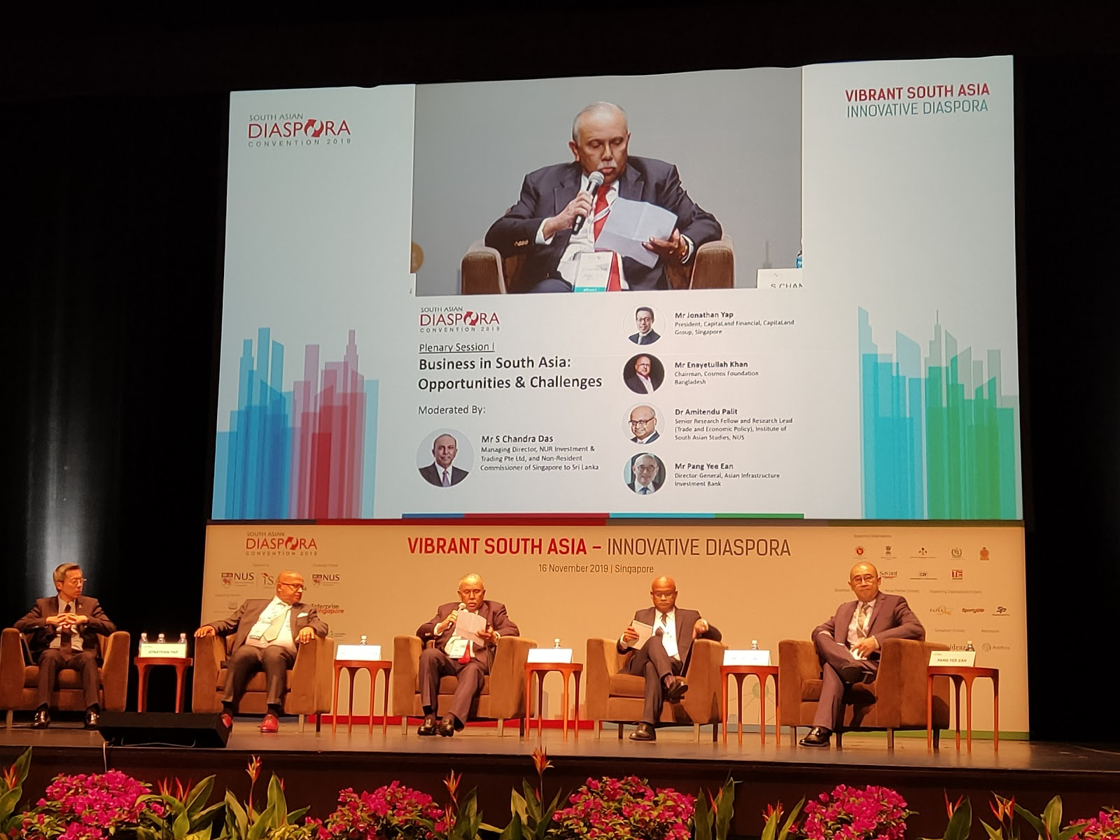 From left to right: Mr. Jonathan Yap, President CapitaLand Financial, Singapore; Mr. Enayetullah Khan, Chairman, Cosmos Foundation, Bangladesh; Moderator for the sesion, Mr. S. Chandra Das, MD of NUR Investment and Trading and non-resident commissioner of Singapore to Sri Lanka; Dr. Amitendu Palit, Senior Research Fellow and Research Lead, ISAS and Mr. Pang Yee Ean, Director General, Asian Infrastructure Investment Bank. Photo: Connected to India