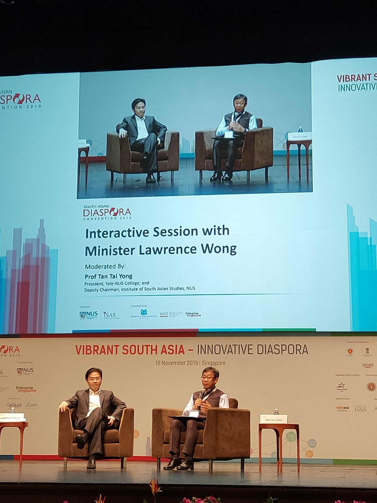 Lawrence Wong, Minister for National Development and Second Minister for Finance responded to questions posed by the audience in an interactive session moderated by Professor Tan Tai Yong, President Yale-NUS College and Deputy Chairman, ISAS. Photo: Connected to India