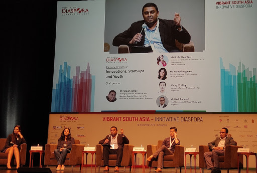From left: Roshni Mahtani, founder and group Ceo the Asianparents, Indonesia; Pranoti Nagarkar, Founder, Inventor, CEO, Rotimatic, Chairperson for panel discussion Shaikh ISmail, MD, Communications, MEdia & Technology, Accenture and Member, Board of Governors of ITE, Singapore;  Ng Yi Ming, Managing Partner, Tribe Accelerator, Singapore and Hadi Rahmad - chief commercial officer, WhatsHalal, SG. Photo: Connected to India.