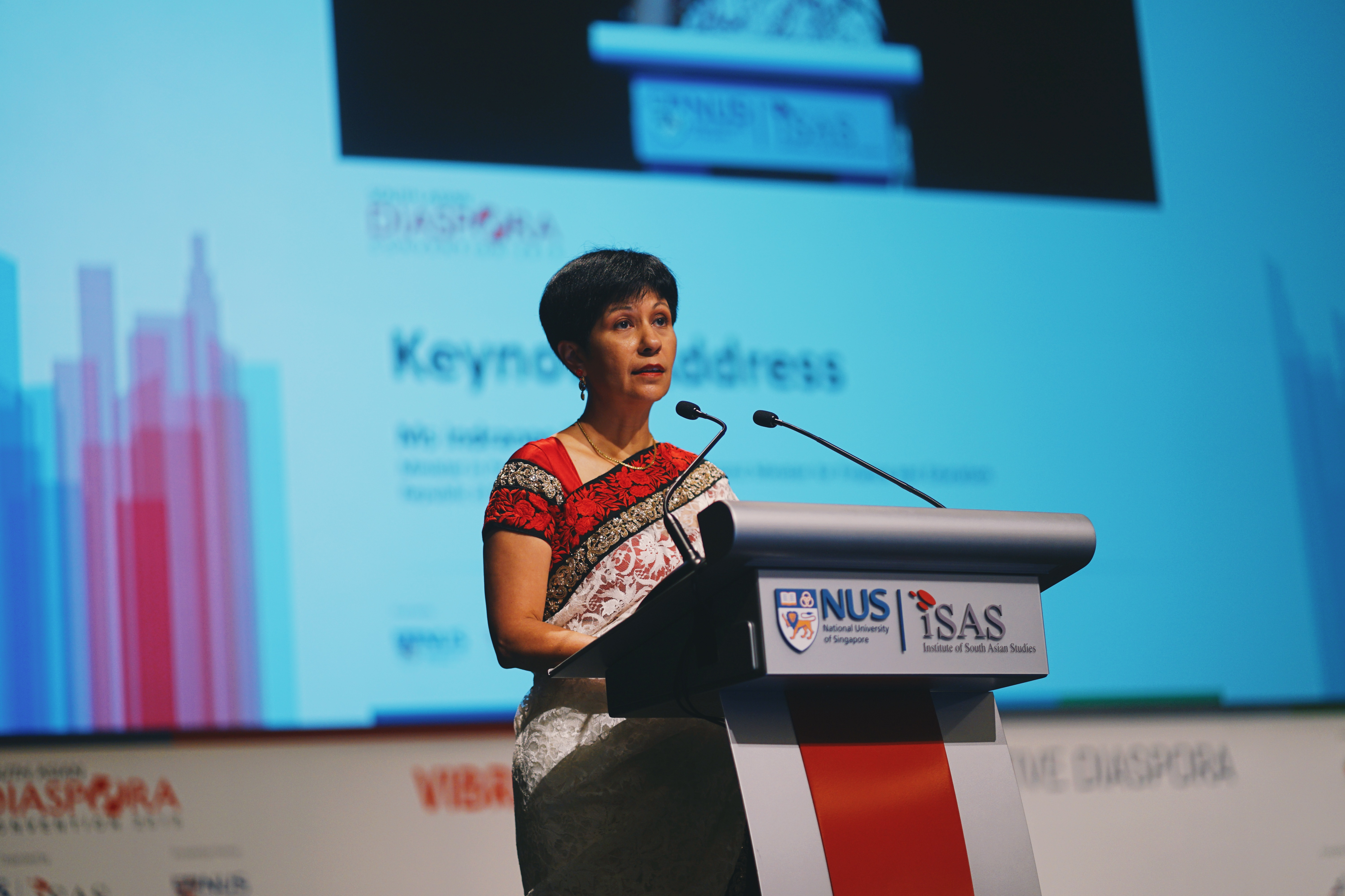 Minister in PMO and Second Minister for Finance and Education Ms. Indranee Rajah spoke on maternal mortality, education, health initiatives, women's nutrition and equal employment based on meritocracy to ensure women's participation in the workforce at the 4th South Asian Diaspora Convention. Photo Courtesy: ISAS