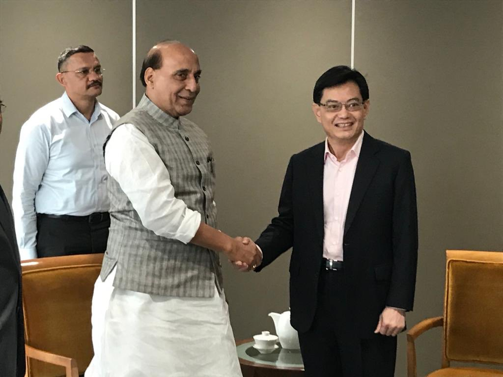 Rajnath singh (left) with Singapore Deputy PM Heng Swee Keat