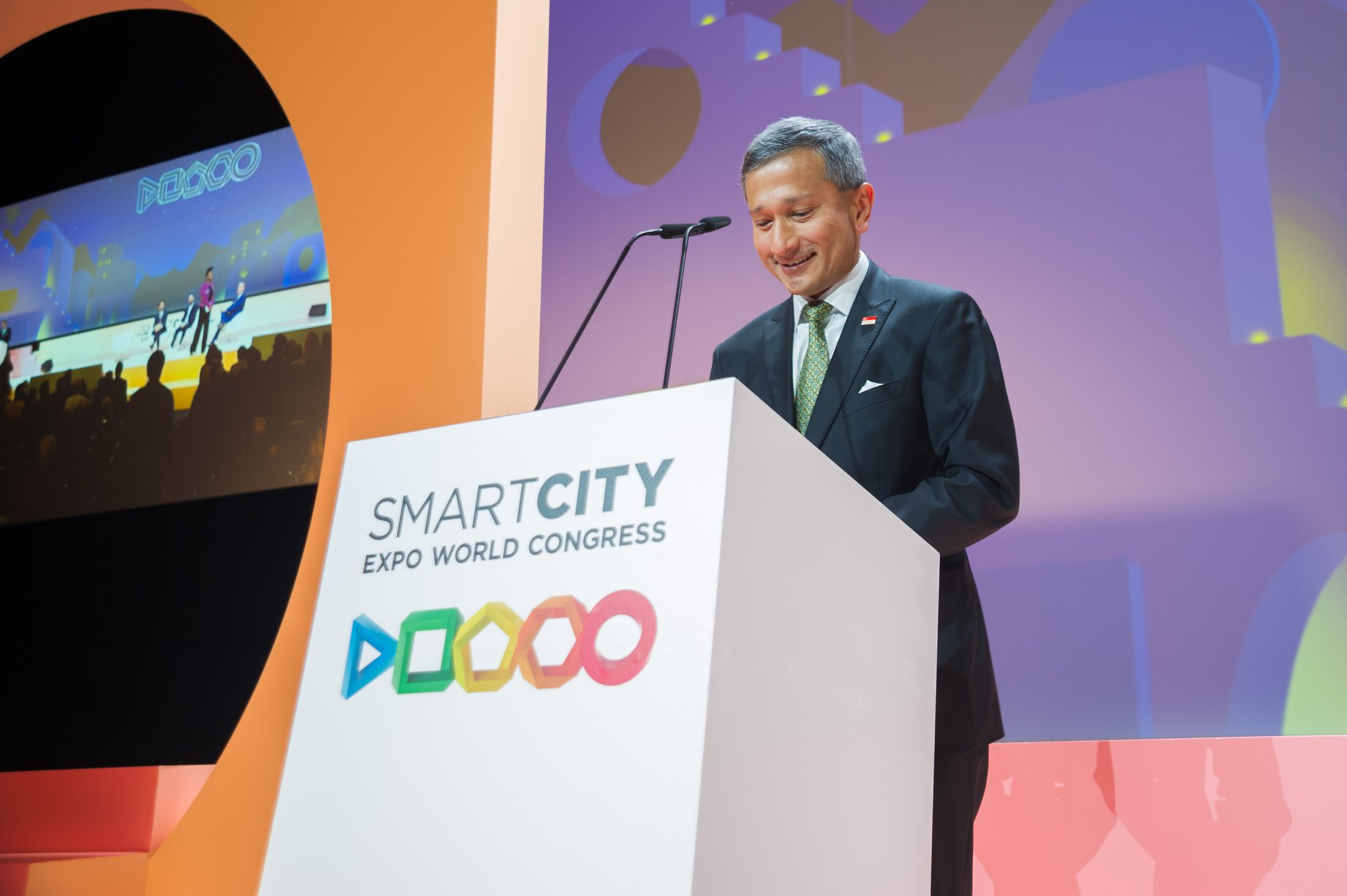 Minister in-charge of the Smart Nation Initiative Dr Vivian Balakrishnan speaking at the ninth edition of the Smart City Expo World Congress in Barcelona. Photo courtesy: Vivian Balakrishnan FB