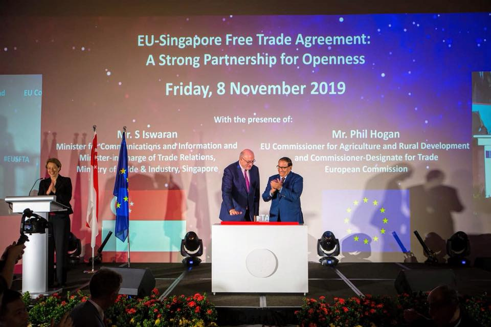 On November 8, Singapore's Minister for Communications and Information and Minister-in-charge of Trade Relations S Iswaran and EU Commissioner-Designate Phil Hogan jointly announced the date which the EUSFTA will enter into force. Photo courtesy: Iswaran FB