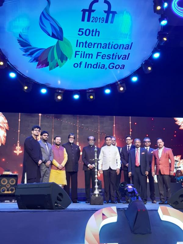Federal Minister for Information and Broadcasting Prakash Javadekar at the inaugural ceremony for IFFI with superstars and well known director Karan Johar. Photo Courtesy: IFFI