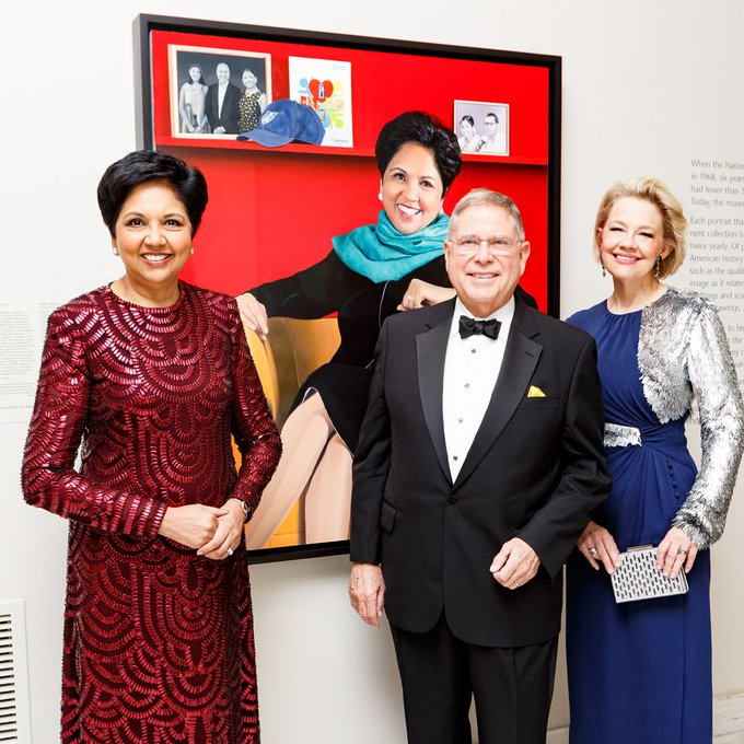 The portrait of Nooyi, 64, has been drawn by artist Jon Friedman and Nooyi said she watched him paint it in different stages.