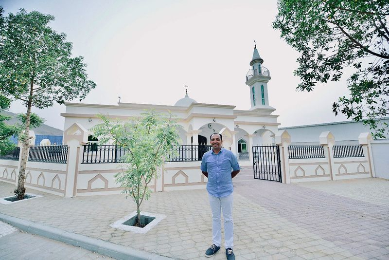 Indian businessman Saji Cheriyan, dubbed an ambassador of peace and tolerance, gifted a mosque to Muslim workers during Ramadan 2018 in Fujariah, Photo Credit: Saji FB