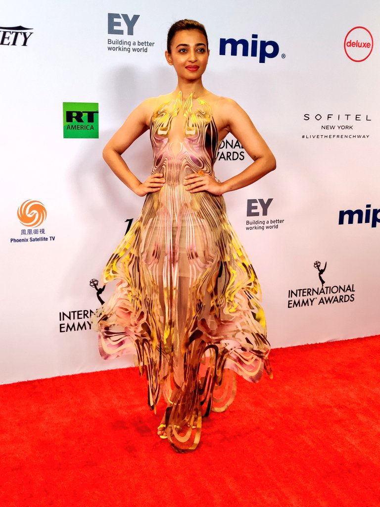 Lust Stories star Radhika Apte, nominated for an Emmy for Best Performance by an Actress, on the red carpet at the International Emmys. Photo courtesy: Twitter/@iemmys