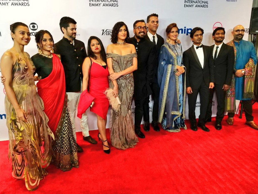 Team 'Sacred Games', sans Saif Ali Khan, walking the red carpet at the International Emmys. Photo courtesy: Twitter/@iemmys