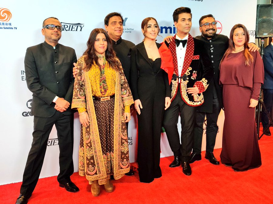 The cast and makers of 'Lust Stories' pose on the red carpet prior to the awards ceremony. Photo courtesy: Twitter/@iemmys