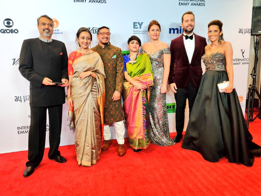 The team from The Remix, another Indian Emmy nominee, on the red carpet. Photo courtesy: Twitter/@iemmys