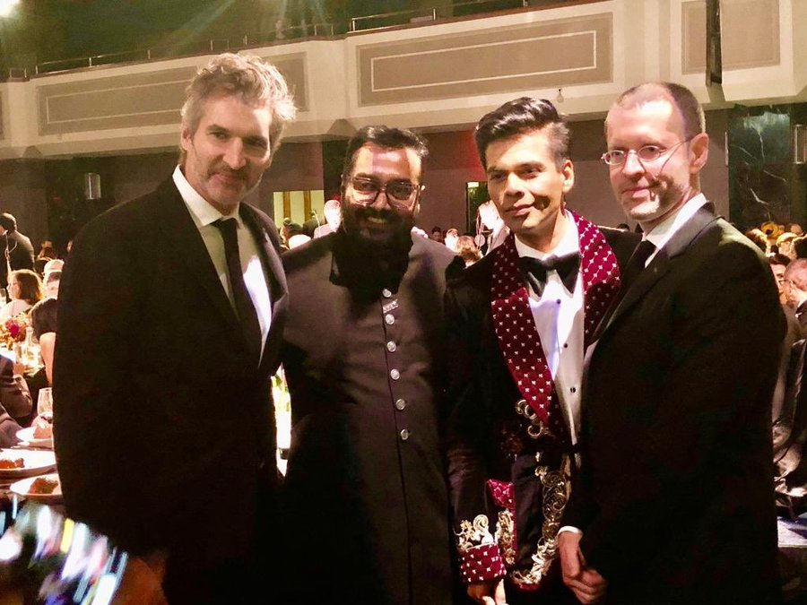 Bollywood bigwigs Karan Johar (centre-right) and Anurag KAshyap (centre-left) with Game of Thrones showrunners David Benioff and DB Weiss at the Emmys. Photo courtesy: Twitter/@karanjohar