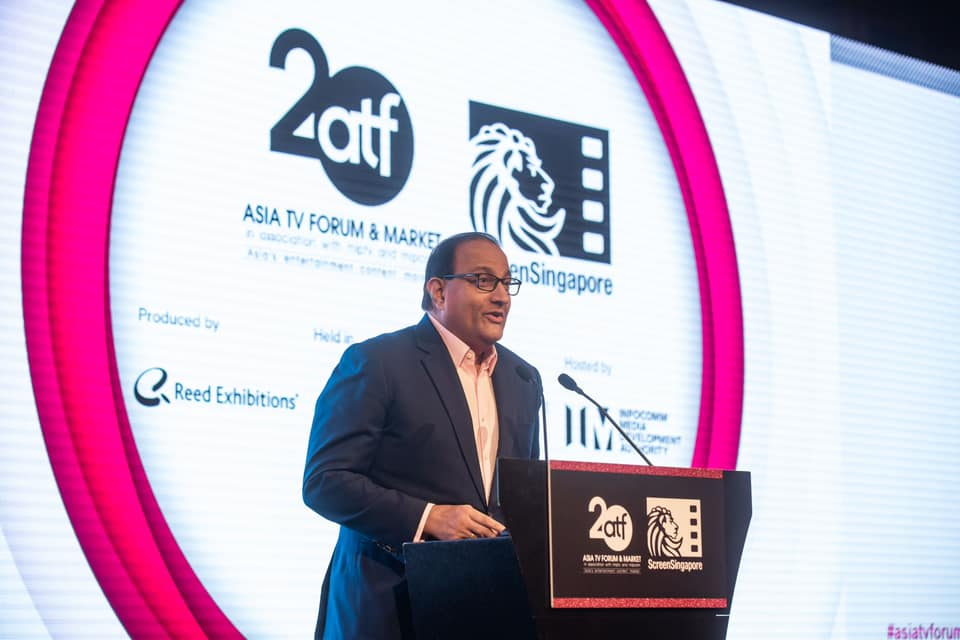 Minister Iswaran speaking at the opening ceremony of Asia TV Forum & Market (ATF) 2019. Photo courtesy: Mr S Iswaran FB page