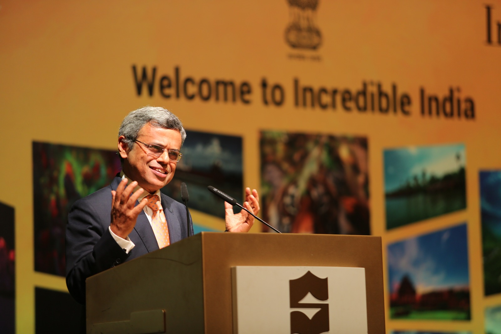 H E Jawed Ashraff, High Commissioner of India to Singapore addressing the audience at the Incredible India Road Show and Business Meet in Singapore. Photo Courtesy: Indian High Commission Singapore