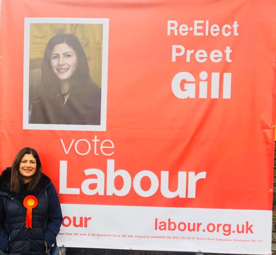 The first female Sikh MP Preet Kaur Gill from the Labour Party is standing from Birmingham, Edgbaston. Photo courtesy: Facebook/Preet Kaur Gill