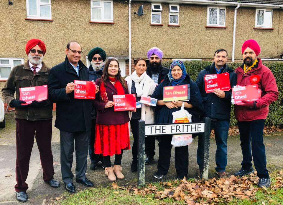 The first turbaned Sikh MP Tanmanjeet Singh Dhesi (far right) of the Labour Party is standing from Slough. Photo courtesy: Facebook/Tan Dhesi