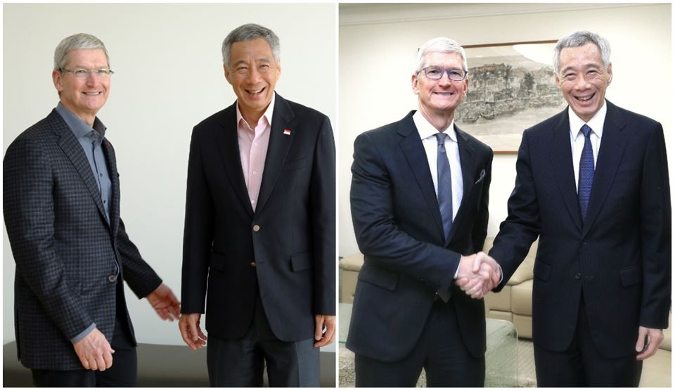 Singapore PM Lee Hsien Loong posted two photos of himself with Apple CEO Tim Cook, taken almost four years apart. (left) At Apple HQ, February 2016. Photo courtesy: MCI, Kenji Soon; in Singapore, December 2019. Photo courtesy: MCI, Lee Jia Wen
