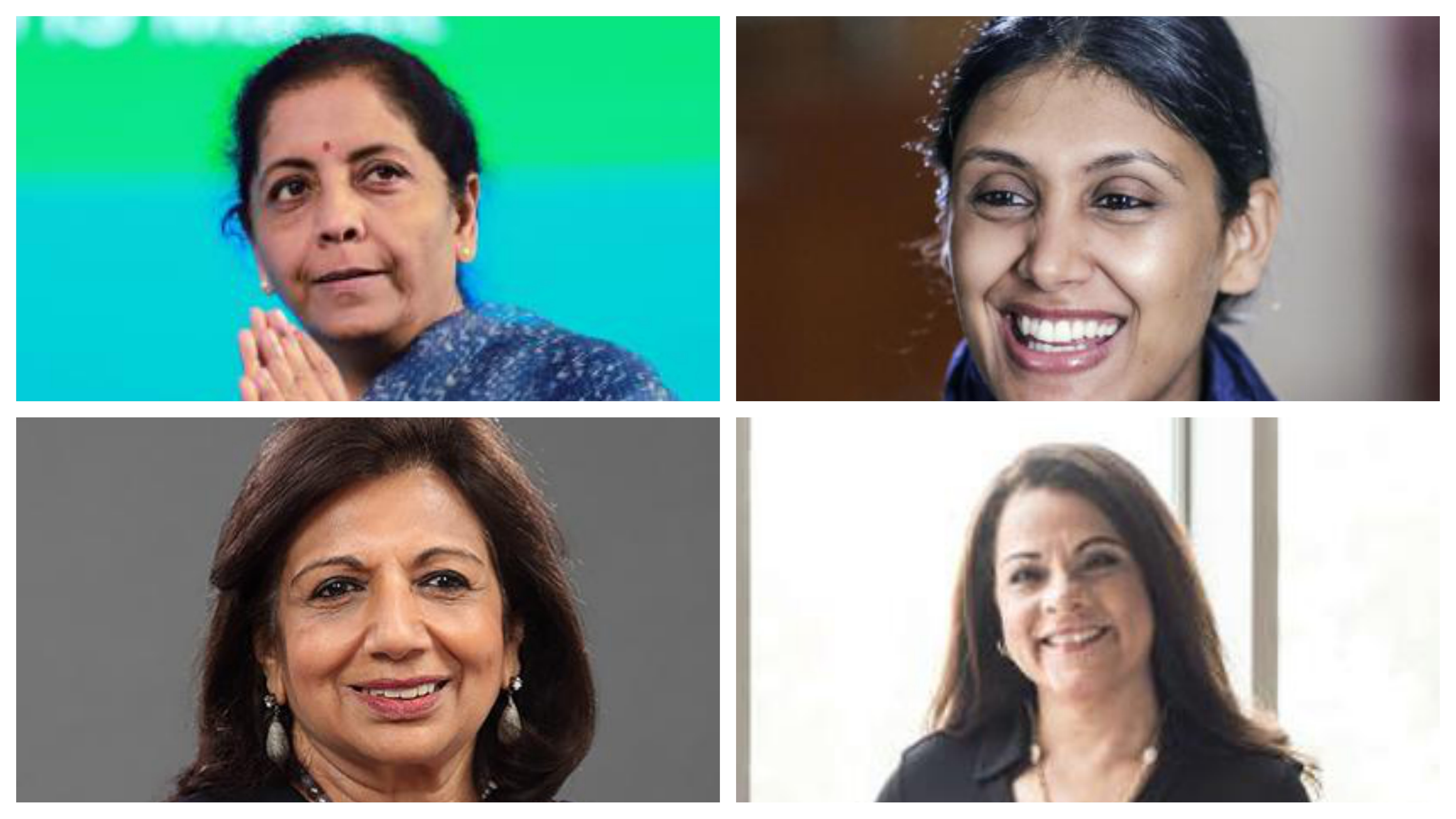 Indian Finance Minister Nirmala Sitharaman, HCL Corporation CEO and Executive Director Roshni Nadar Malhotra, Biocon Founder Kiran Mazumdar-Shaw and Landmark Group chairwoman and CEO Renuka Jagtiani