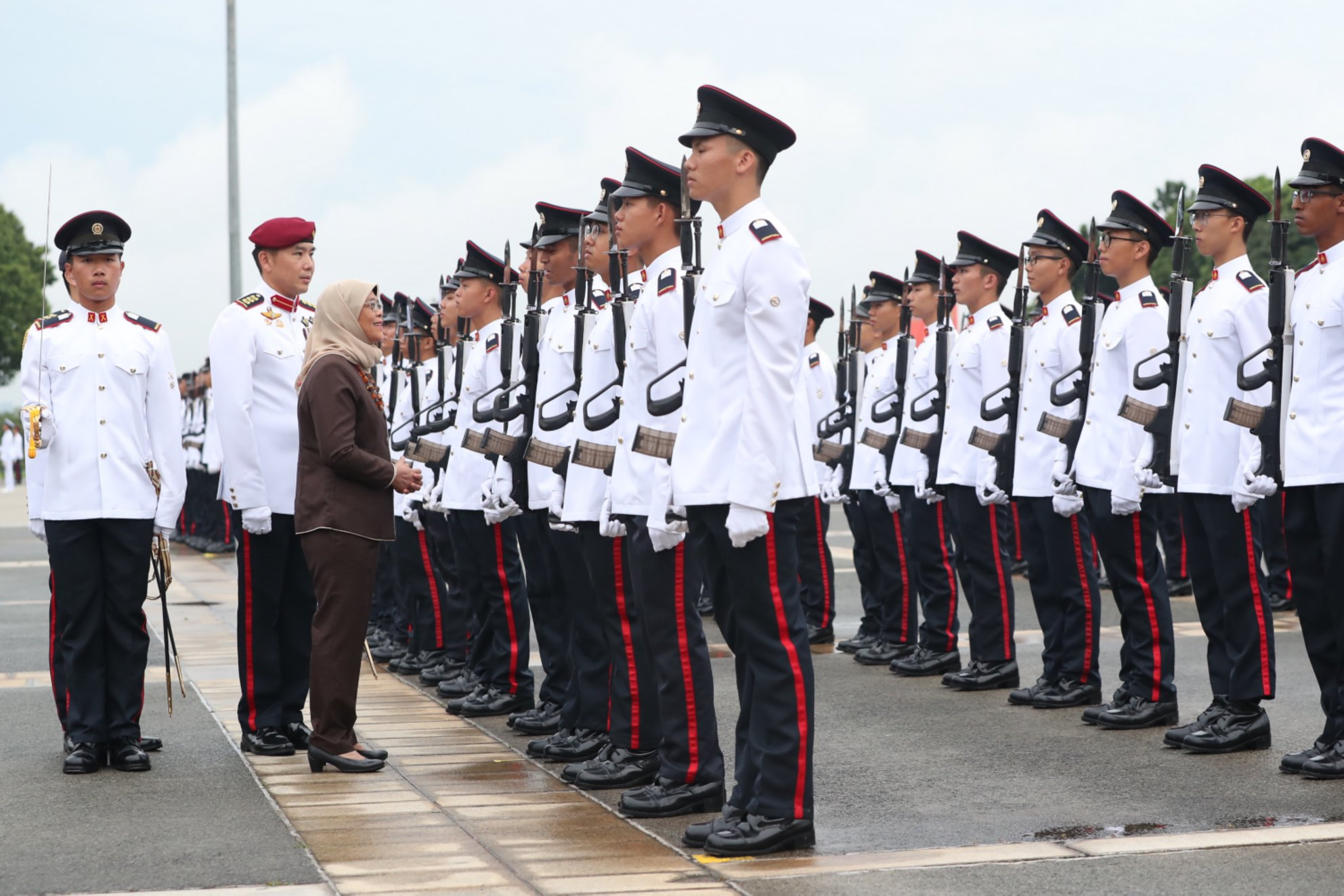 President Halimah Yacob as the Reviewing Officer of the commissioning parade. Photo courtesy: MCI, Clement