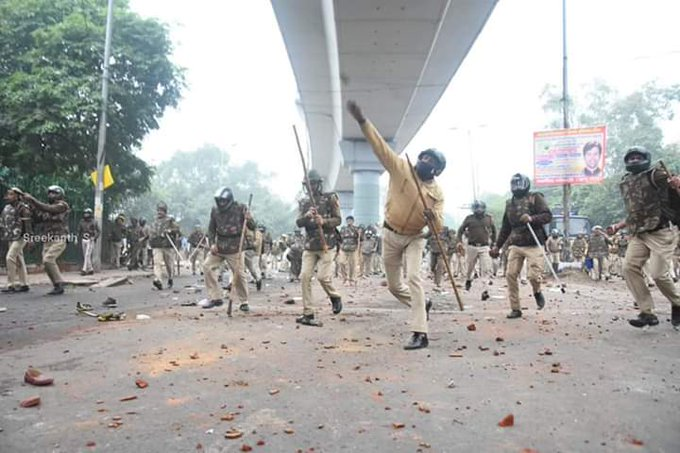police using tear gas shells and lathicharges to dispel violent protesters, according to official reports.