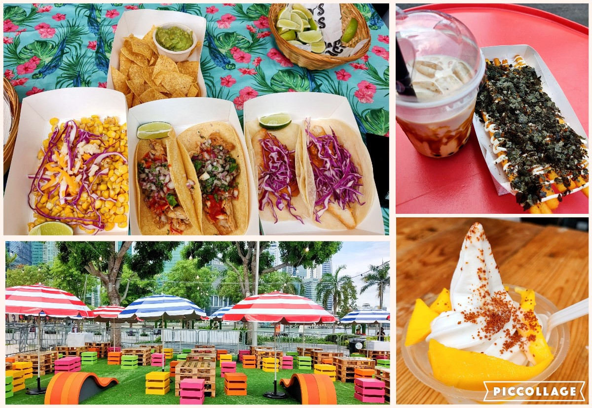 A wide array of food and drinks priced between $5 to $10 include innovations such as a soft-serve coconut sticky mango rice and cool treats such as the White Rabbit creme brulee that you can savour at lovely picnic like colourful seatings. Photo Credit: Connected to India