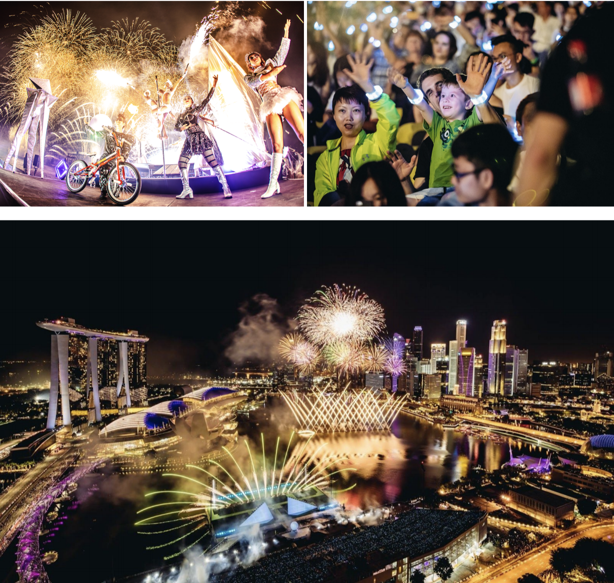 Clockwise from top left: Japanese hanabi synced with world-class performances: special individual LED wristbands for a more immersive show experience ; Breathtaking Japanese fireworks light up Singapore's skyline. Photo courtesy: Avex