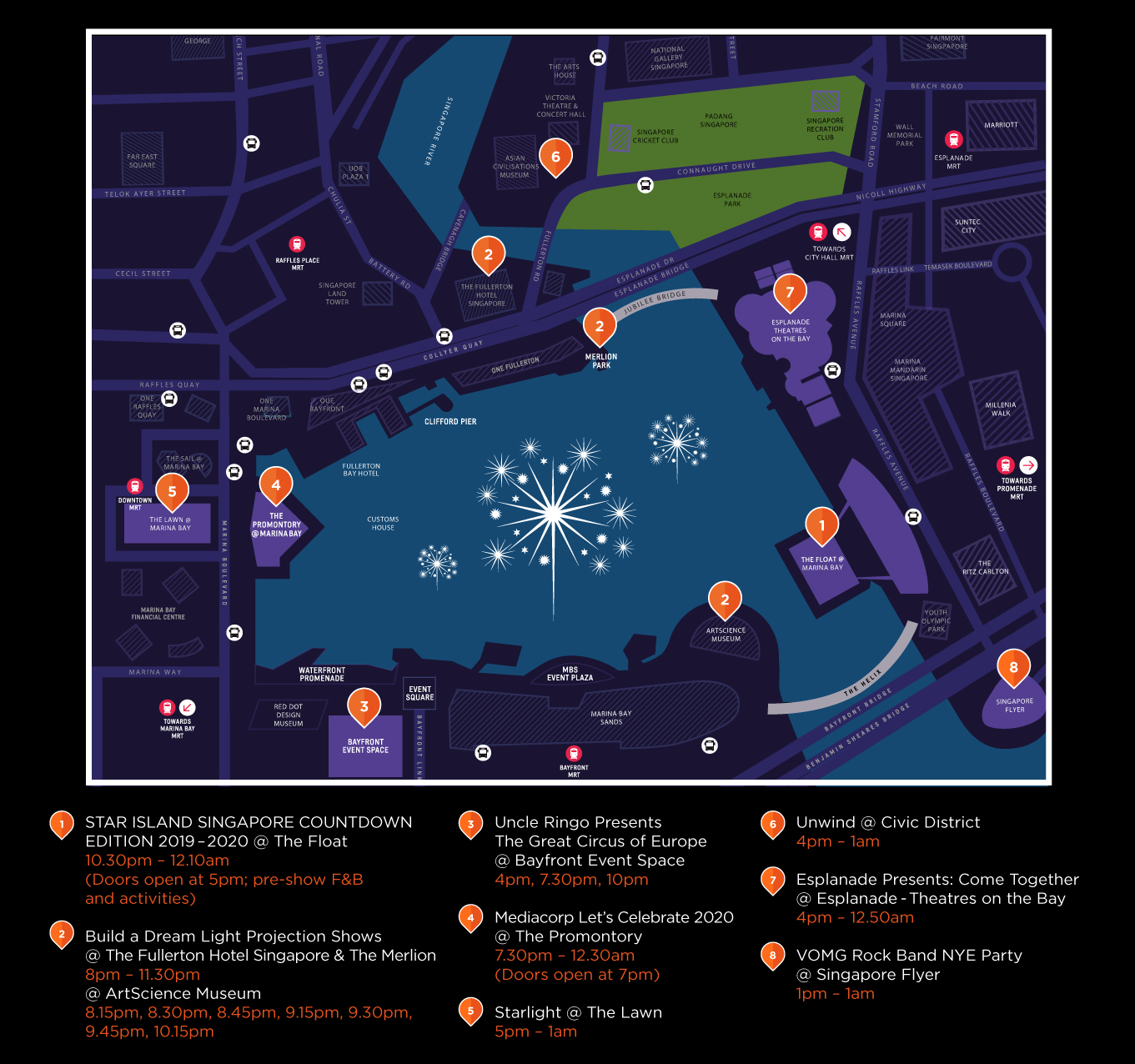 Map of activities around Marina Bay and the Civic District in preparation for countdown 2020.