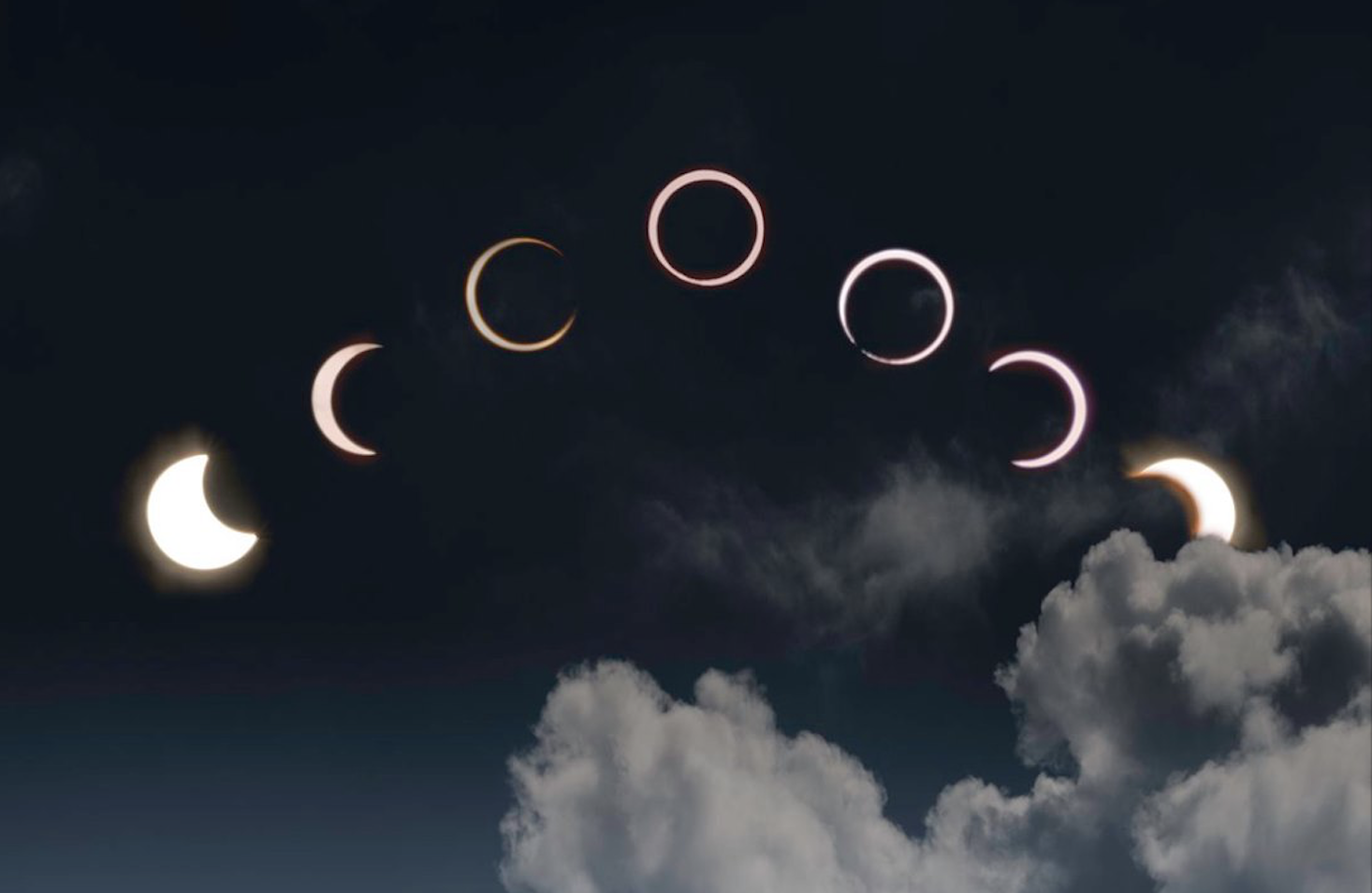 A composite photo of the annular solar eclipse above the NUS Centre for Remote Imaging, Sensing and Processing's antenna at S17. Photo courtesy: NUS