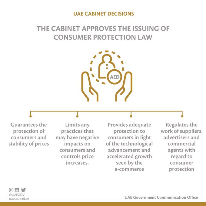 The UAE Cabinet listed out what the issuing of a Federal Law on Consumer Protection will ensure and apply to the consumers as safeguards. Photo Courtesy: UAE Govt Twitter
