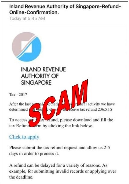 Scam Email titled 'Inland Revenue Authority of Singapore-Refund-Online-Confirmation'. Image: IRAS
