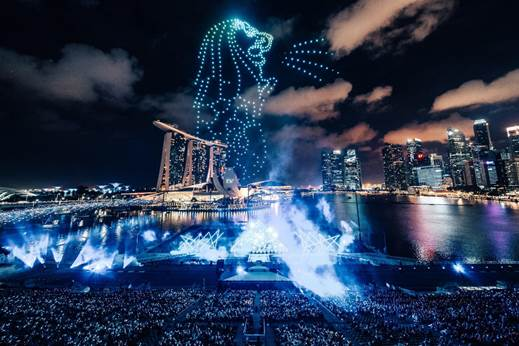 500 drones up in the sky in what was the biggest drone show in world, recreating iconic structures of Singapore Photo courtesy: Urban Redevelopment Authority