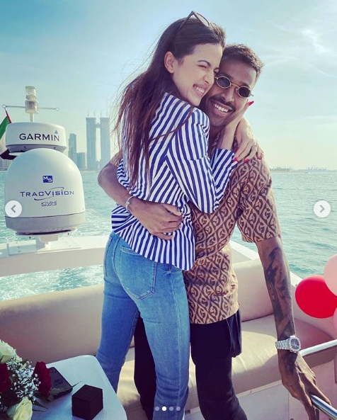 Indian cricketer Hardik Pandya and Serbian actress Natasa Stankovich got engaged on new year's day. Photo courtesy: Instagram/Hardik Pandya