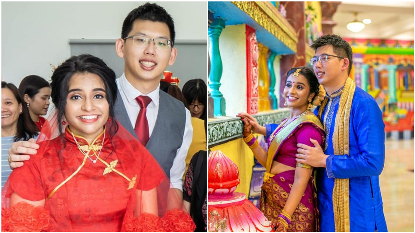 Malaysian Indian Pathma Gurusamy and Singaporean Chinese Ng Boon Jun held two weddings back-to-back to honour each other's tradition and culture. Photo courtesy: Pathma Gurusamy