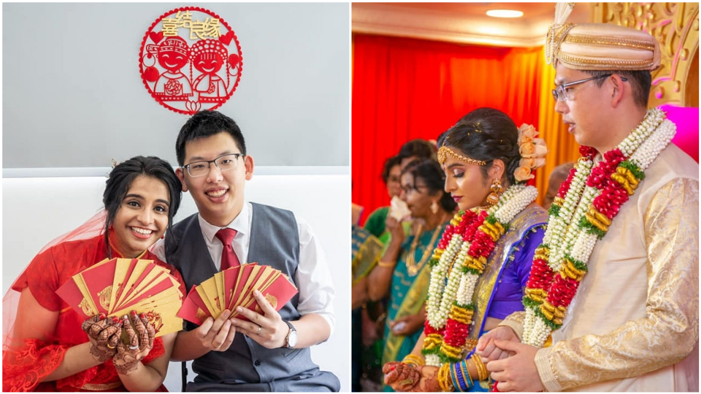 On the first day of their wedding, the couple donned full Indian regalia and had a ceremony at a Hindu temple in Kuala Lumpur. On day two, the couple
