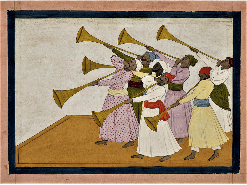 The work shows seven village musicians playing Pahari horns with long pipes known as turhi, their cheeks puffed out with the effort.
