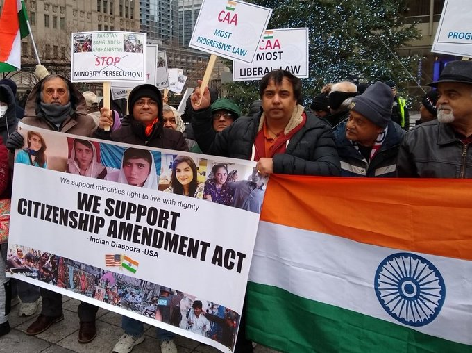 More than 300 Indian-Americans were present at a rally in downtown Chicago on Saturday.