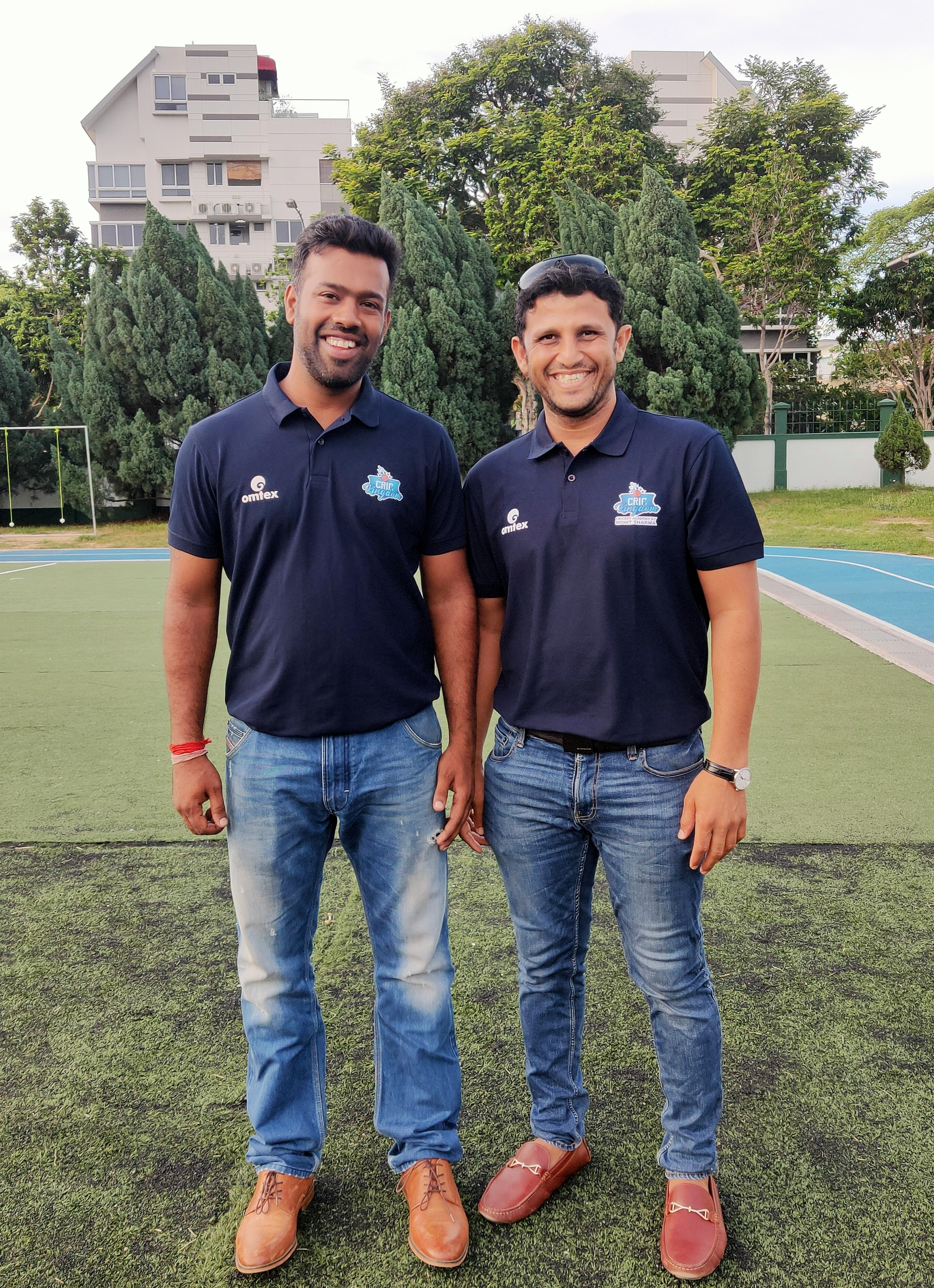 Vishal Sharma, brother of Hitman Rohit Sharma and himself a cricketer with former captain of the Singapore National Cricket Team at St Patricks School Singapore, both sporting the kit with the new CricKingdom logo. Photo: Connected to India