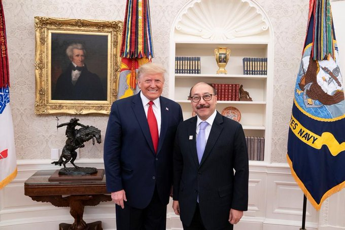 US Ambassador Harsh Shringla saying good bye to US President Donald J. Trump before leaving to take over his assignment of India's Foreign Secretary