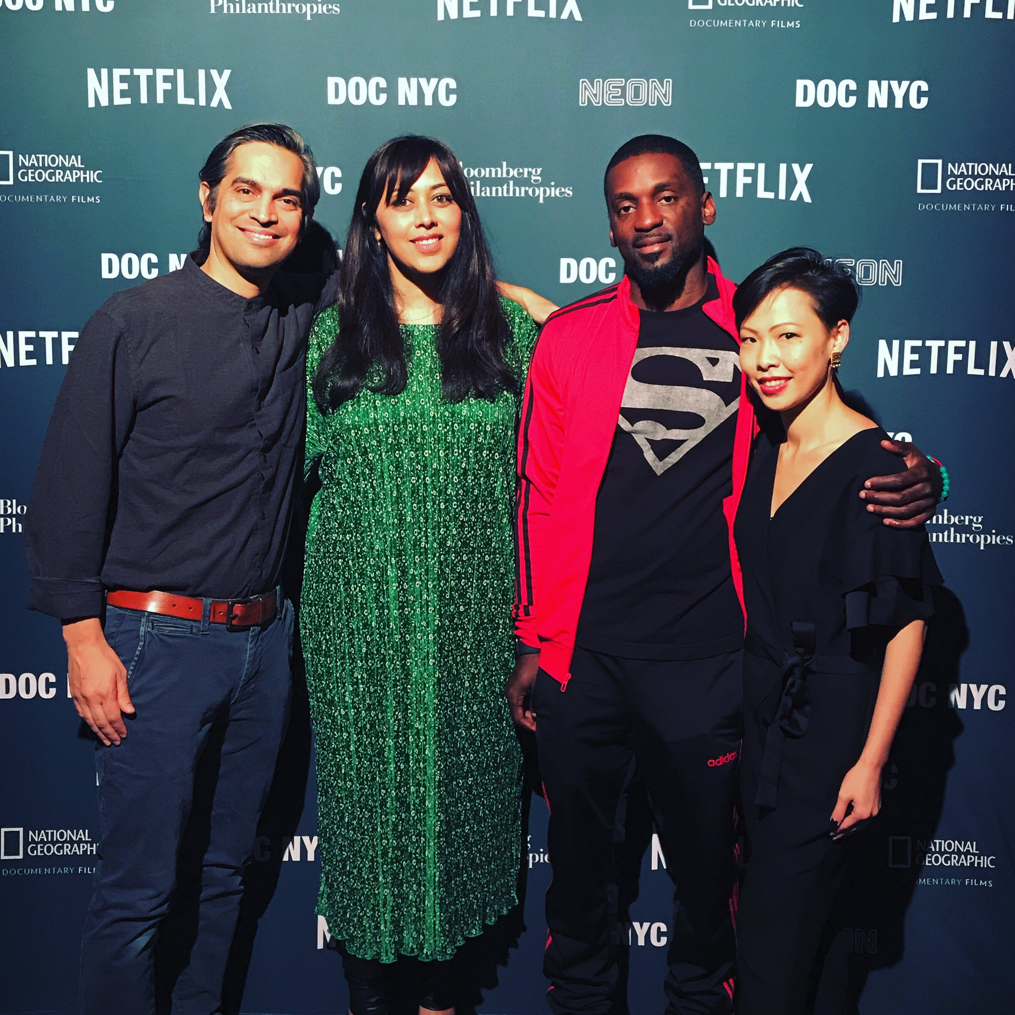Indian-American filmmakers Sami Khan (extreme left) and Smriti Mundhra (second from left) have received an Oscar nomination for their film St. Louis Superman, based on former Missouri Rep. Bruce Franks Jr. (second from right). Photo courtesy: Twitter/@pohsi