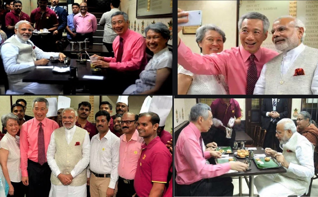 Indian Prime Minister Modi's first visit as PM to Singapore in late 2015 was when he dined at the iconic Komala Vilas with PM Lee Hsien Loong. Photo Courtesy: PM Modi FB/ Twitter