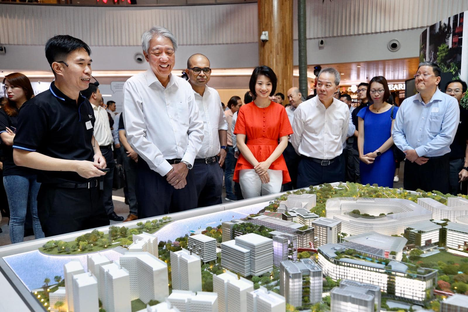 Senior Minister and Coordinating Minister for National Security Teo Chee Hean (second from left), with Senior Minister of State, Ministry of Transport & Ministry of Communications and Information, Janil Puthucheary; and Senior Parliamentary Secretary, Ministry of Home Affairs & Ministry of National Development, Sun Xueling, at the groundbreaking ceremony of the Punggol Digital District. Photo courtesy: Teo Chee Hean FB