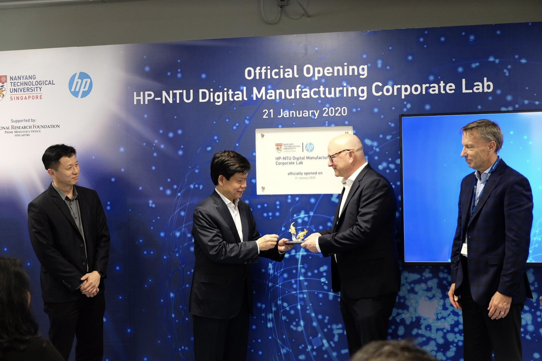 (Left to right) The HP-NTU Corporate Lab was officially opened today by NRF Singapore Executive Director Lim Tuang Liang, NTU Senior Vice President (Research) Prof Lam Khin Yong; HP Inc CTO Shane Wall; HP Inc Chief Technologist, Print, Glen Hopkins. At the opening, Prof Lam also presented token of appreciation to Wall. Photo courtesy: HP