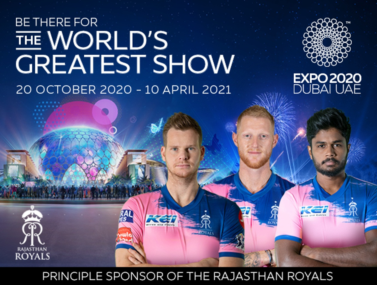 Expo 2020 Dubai will be Rajasthan Royals' principal sponsor for this year's IPL. Photo courtesy: www.rajasthanroyals.com