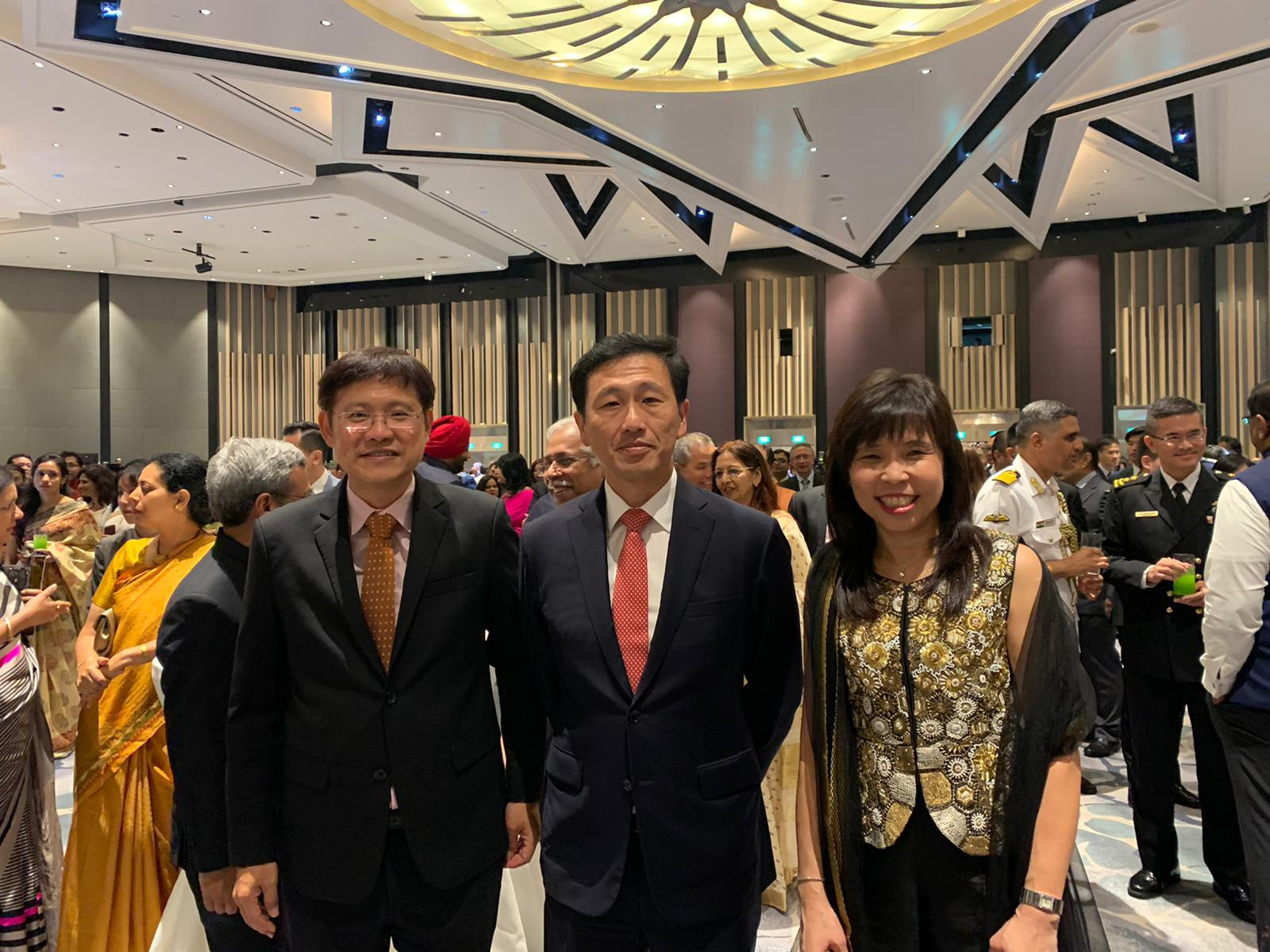 Mr Ong Ye Kung, Minister for Education, Members of Parliament Ms Jessica Tan, Mr Gan Thiam Poh, Rear-Admiral Lew Chuen Hong, Chief of Navy, friends of India, Indian diaspora, were among the more than 1500 distinguished guests at Swissotel the Stamford, Singapore.  Photo: Connected to India