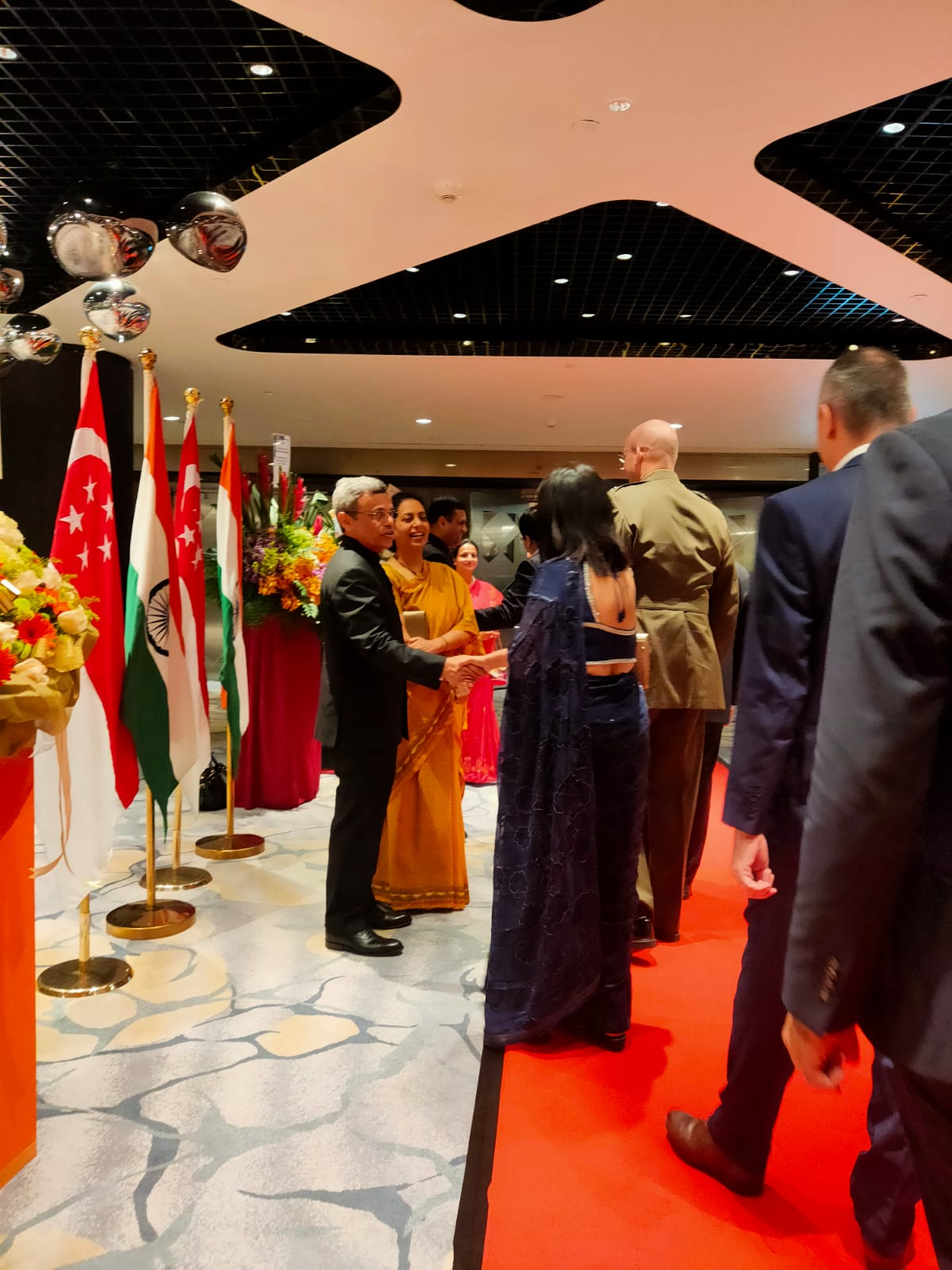 The High Commissioner and Dr. Ghazala Shahabuddin, welcomed the guests to the celebrations of the 71st Republic Day of India at the elegant Fairmont Ballroom at Raffles City Convention Centre, Singapore. Photo: Connected to India