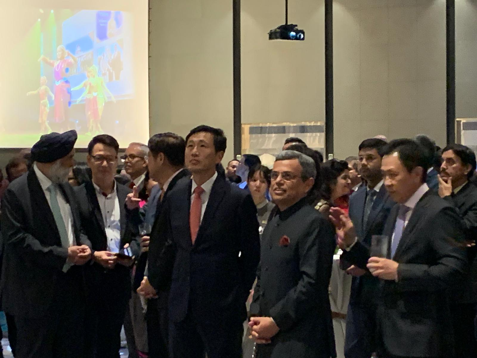 A 3-minute video on India-Singapore relations in the year 2019 was played, following which Jawed Ashraf delivered his remarks. Photo: Connected to India