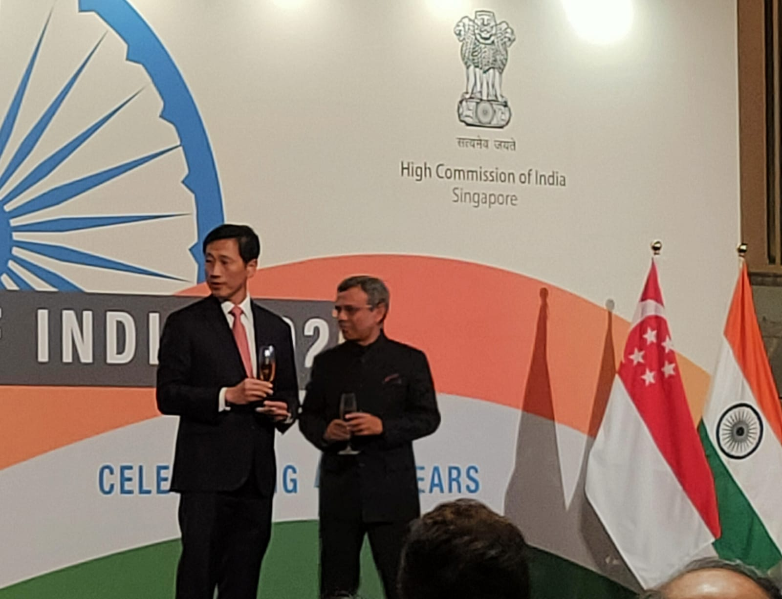 "Minister Ong proposed a toast, "" High Commissioner, Excellencies, Ladies and Gentlemen, I would like to propose a toast to His Excellency, Ram Nath Kovind, the President of the Republic of India"". Photo: Connected to India"